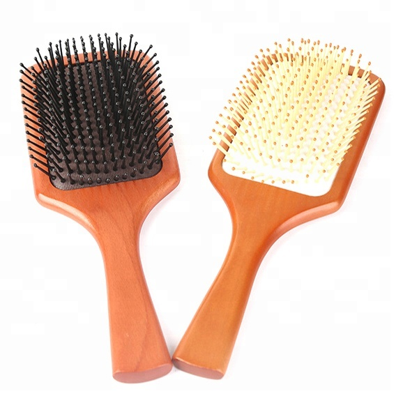 Classic beech wood massage comb dark brown wooden paddle hair brush with cardboard packing