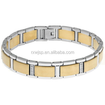 Classical Stylish Men's 8.5-Inch high Polished 316L Stainless Steel 2-Tone (silver & gold) crystal bracelet