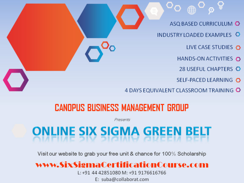 Online Six Sigma Green Belt Certification Course No Travel Required