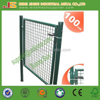 100x100 Galvanized and Powder Coating Green Color Welded Wire Mesh and Round Post Frame with Lock Decoration Euro Garden Gate