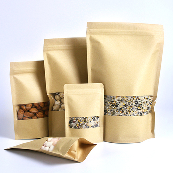 Kraft stand up tea nuts coffee food packaging zipper bag with window Spot wholesale
