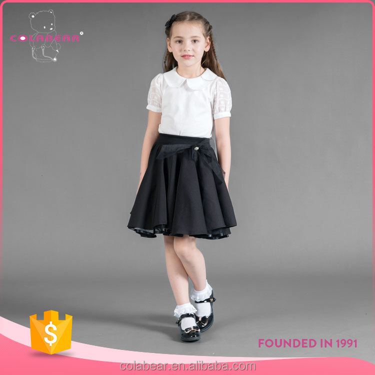 Kid girl summer wear semi-sheer lace sleeve tops + pleated skirt children clothing sets wholesale children's boutique clothing