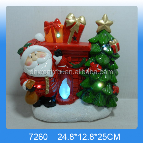Indoor ceramic christmas ornament with led light for 2017