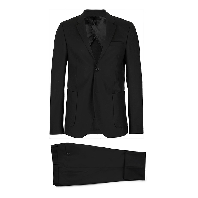 TRAVEL SERIES Black Wool Skinny Fit Suit with Roll up reflective trouser hems