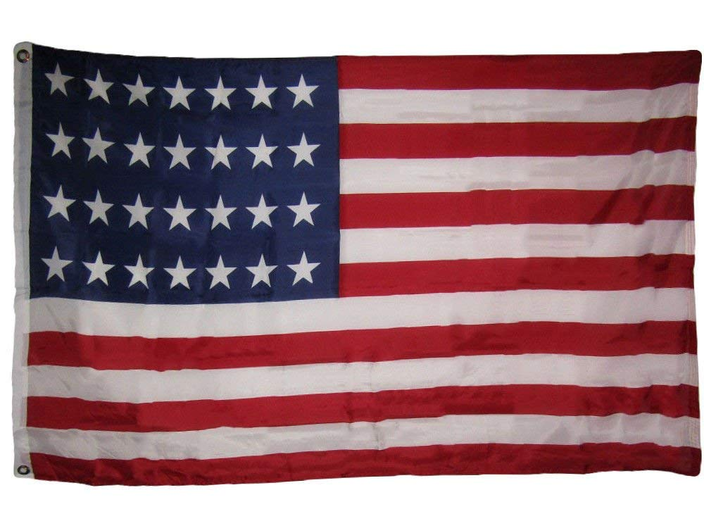 3x5 USA American 28 Star Linear 1846-1847 Historical Flag 3'x5' Banner Grommets Vivid Color and UV Fade Resistant Canvas Header and polyester material