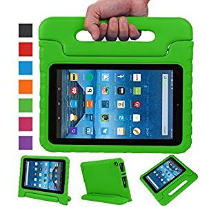 Sztook Shock Proof Kiddie Series Light Weight Convertible Handle Stand Case for Amazon Fire 7 Tablet 5th Generation - Green