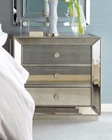 5 Star Hotel Mirrored Wooden Beads Bed Night Stand