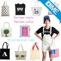 High Quality Blank Canvas Cotton Tote Bag , Recycled Cotton Bag With Logo