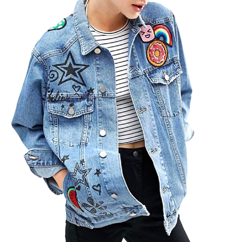 YUNY Women Regular Fit Fold-Collar Design Graphic Denim Jacket
