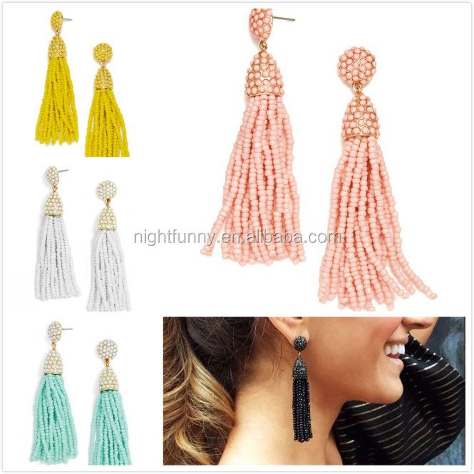 Beadswork fringe Earrings, MINI PINATA TASSEL EARRING