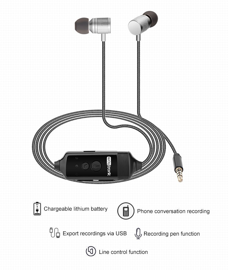 Android iOS mobile phone compatible universal recordable earphone with mic