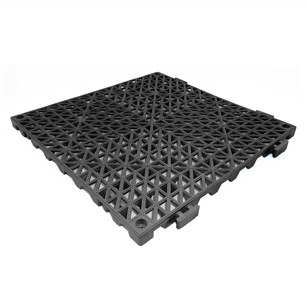 Anti-bacteria kitchen pvc covering interlocking plastic sheet flooring tile, Vented Drain PVC square interlocking tile 12in x12