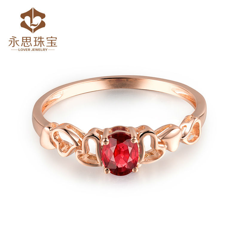 Solid 18k Rose Gold Ring Natural Oval Cut Ruby Design For