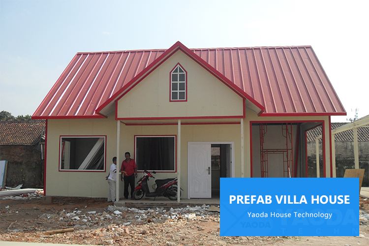 Beautiful Low Cost Ready Made Windproof Reliable Lightweight Small Villas House 120M2  Soundproof Prefabricated Steel Material Villa