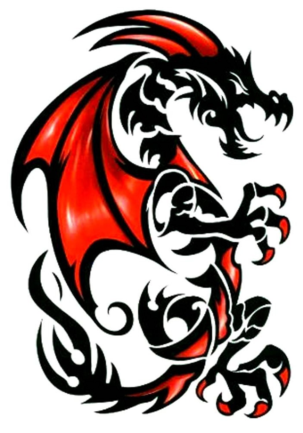 Buy Tribal Red Black Draco Dragon Temporary Body Art Tattoos Large