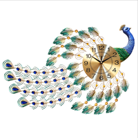 Handcrafted Painted Peacock Shape Wooden Decorative Wall Clock