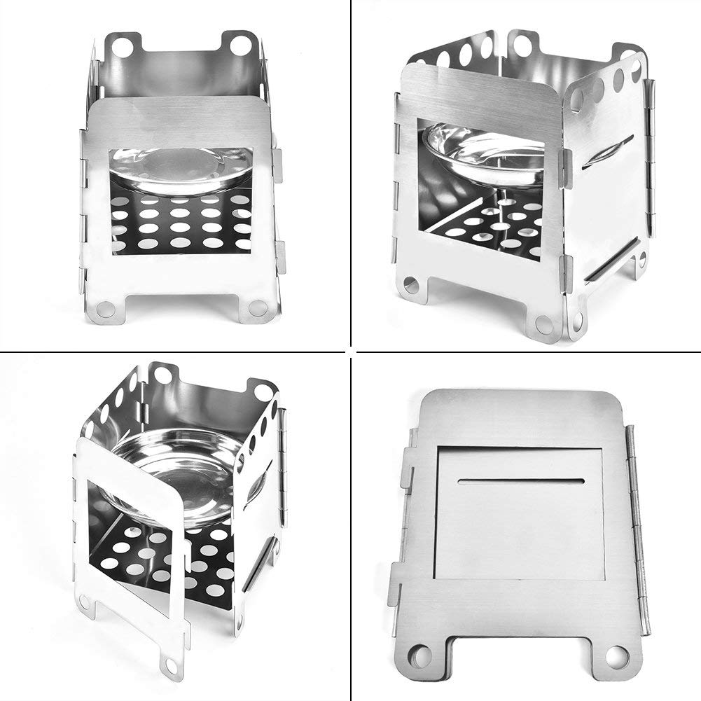 T-best Camping Stove, Ultralight Portable Outdoor Backpacking Camping Stoves Detachable and Foldable Wood Burning Camp Stove with Carry Bag
