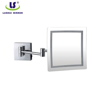 wall mounted square folding magnifying mirror with led light