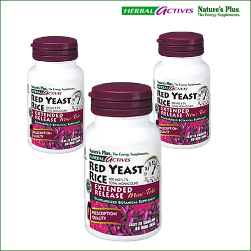 Nature's Plus - Herbal Actives Red Yeast Rice 600 mg Extended Release Mini-Tabs - Pack of 3 - 60 Mini-Tablets