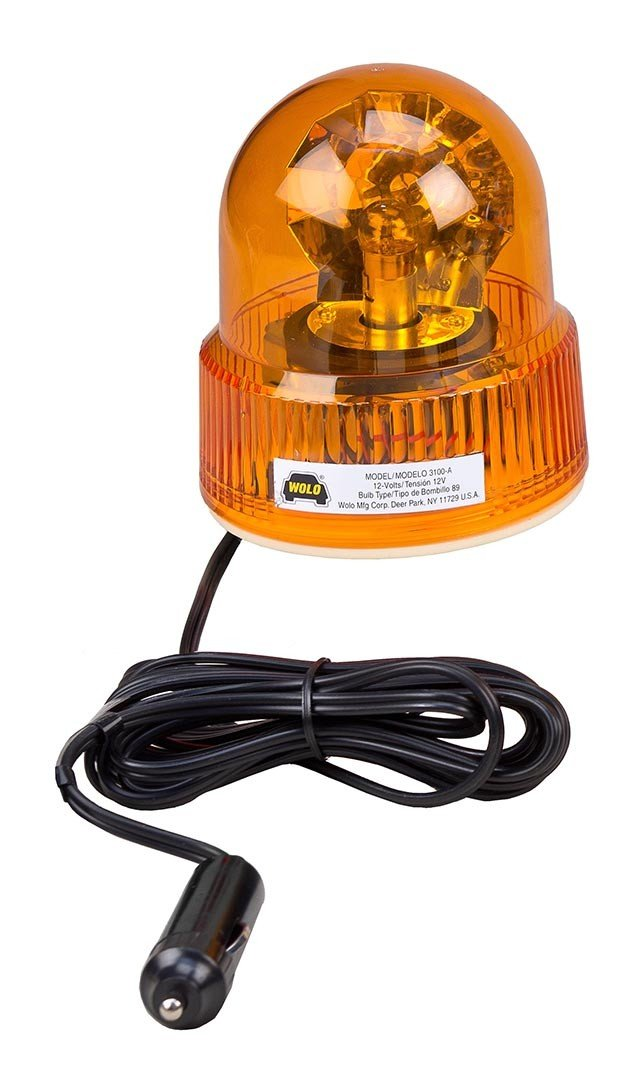 Wolo 3100-A Beacon Light Rotating Emergency Warning Light - 12 Volt, Amber Lens
