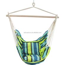 Canvas Rope Hammock Cradle Chair with Wood Stretcher