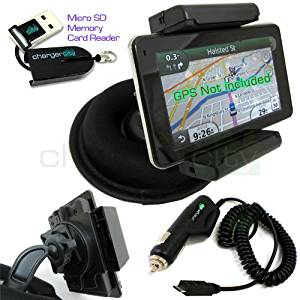 Chargercity OEM Beanbag Friction Mount Kit for Garmin Nuvi 3790 3790T 3760 3760T 3750 3750T 3710 3710T 3700 3700T GPS w/ Micro USB Card Reader, Bracket Cradle, Car Charger Vehicle Power Cable & Portable Garmin Dashboard Friction Mount (Manufacture Direct Replacement Warranty)