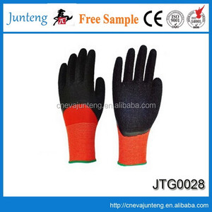 Cheap rugged wear Striped Cotton latex coated hand job gloves