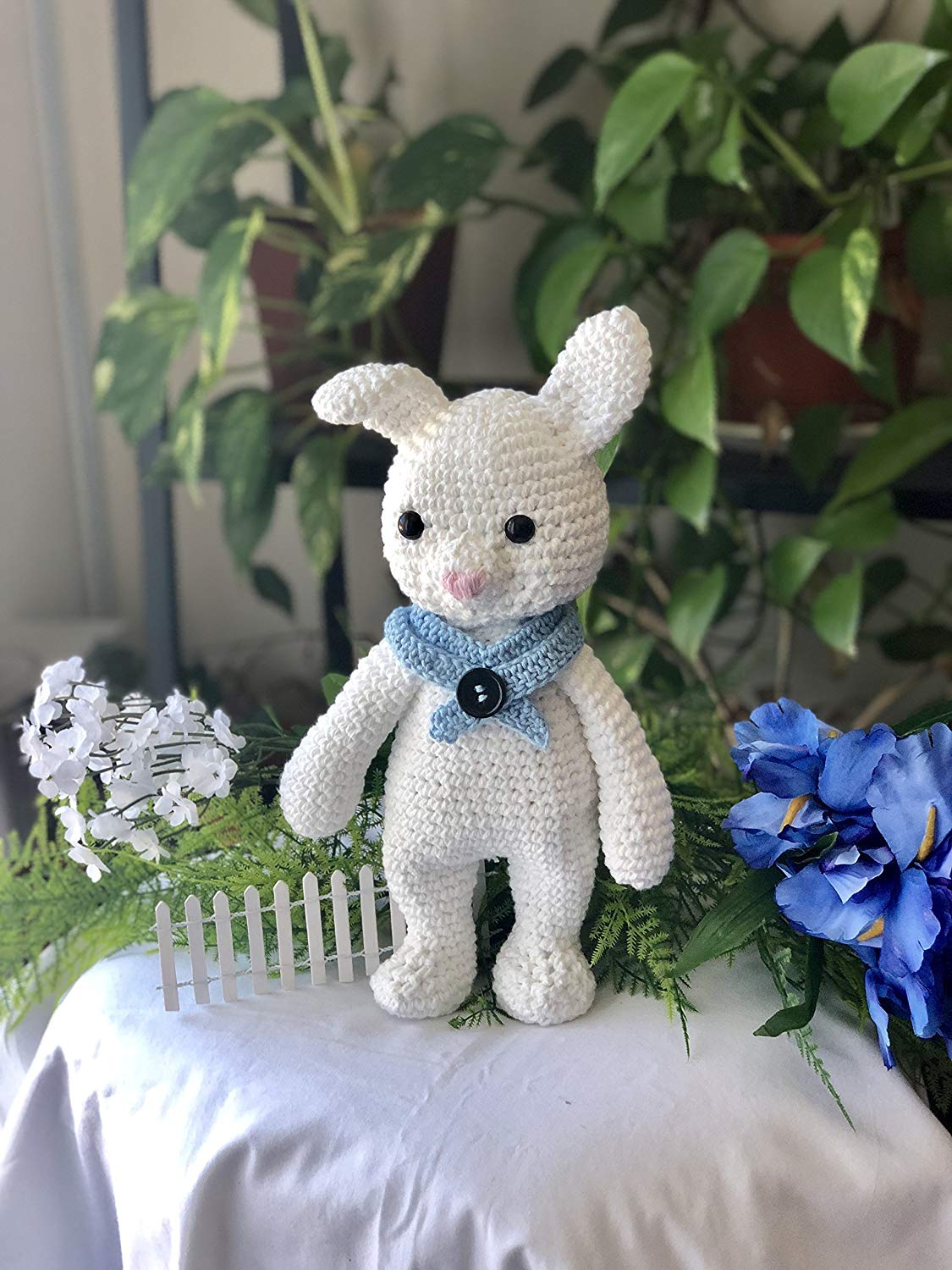 Crochet Toy, Bunny, Stuffed Animal, White, Baby Gift, Baby Shower, Nursery, Crib Toy, Hand Made