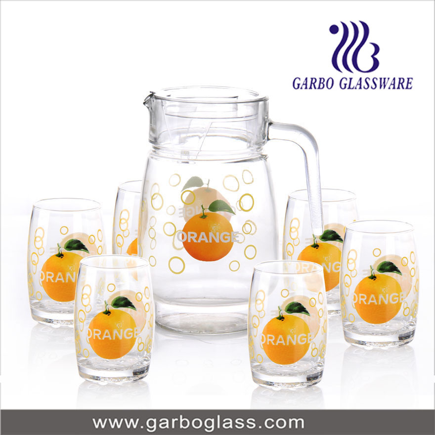Custom Decal Pattern Pitcher Drinking Glass Set,Decal Glass Water ...