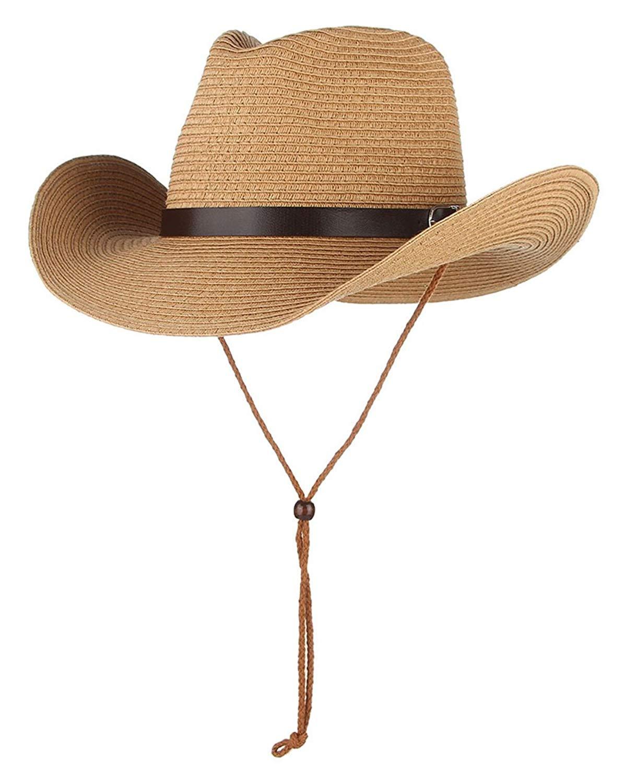 da43bb306ca2f Get Quotations · Gemvie Stetson Cowboy Hat Western Style Fedora Straw Hat  Sun Hat with Chin Strap