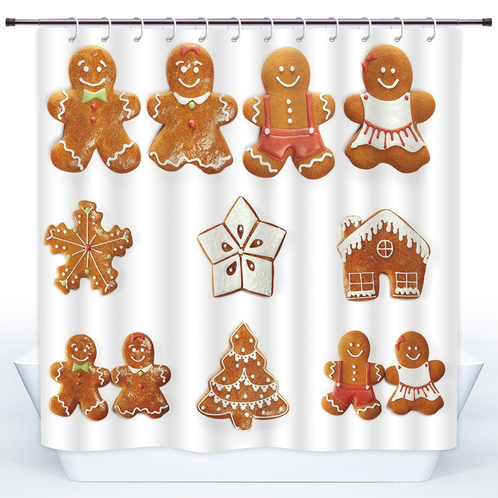 SCOCICI Unique Shower CurtainGingerbread ManVivid Cute Christmas Gingerbread Biscuits Set Snowflake House