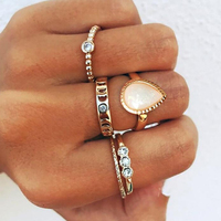 2019 European and American newest jewelry fashion 5 pieces hollow joint ring geometric drop water diamond Knuckle Ring Set
