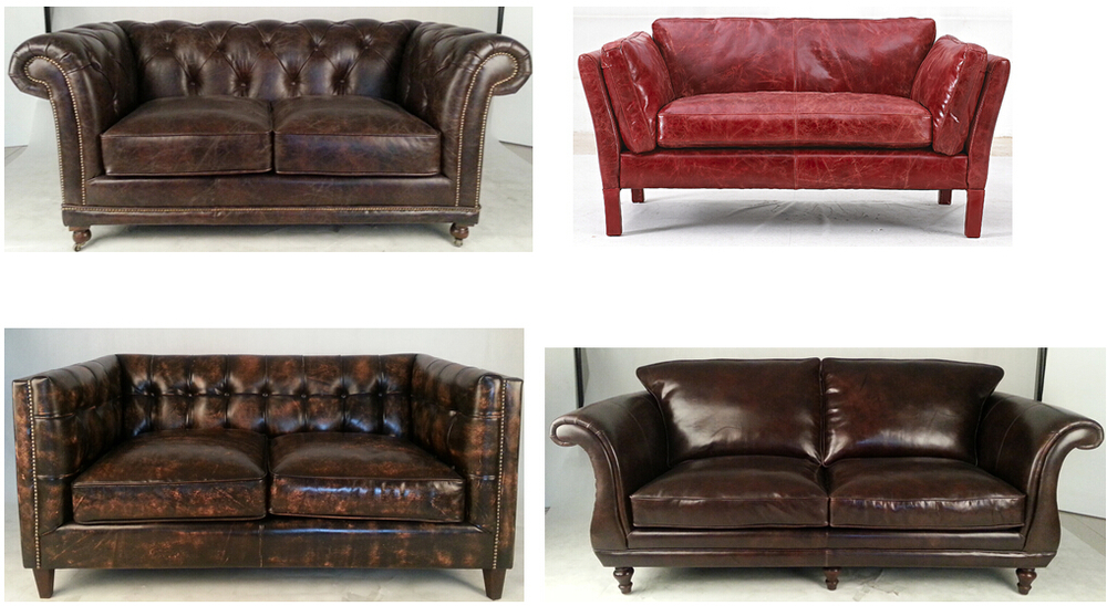 Industrial Antique Brown 3s Retro Cow Leather Sofa Buy