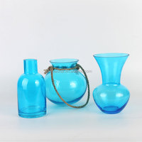 Blue Hand Blown Art Glass Vase With Hand-held Hemp Rope