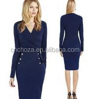 Z54857A Lady High End Knee Length Office Formal Dress Plus Size Western Dress