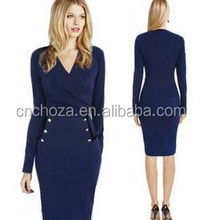 Z54857A Lady High End Knee Length Office Formal Dress Plus Size Western Dress