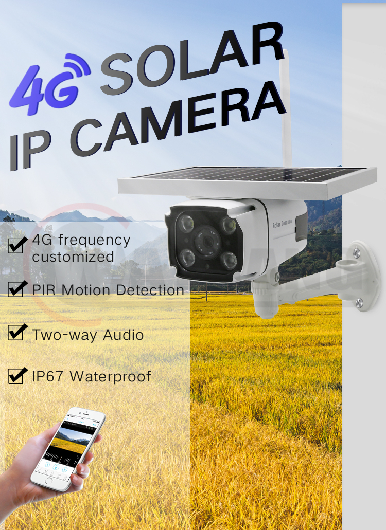 1080P Outdoor CCTV Camera With 4G Network Solar Powered Wireless IP Camera