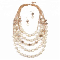 Fashion Multilayer Pearl Necklace Gold Female Sweater Chain Party Necklace