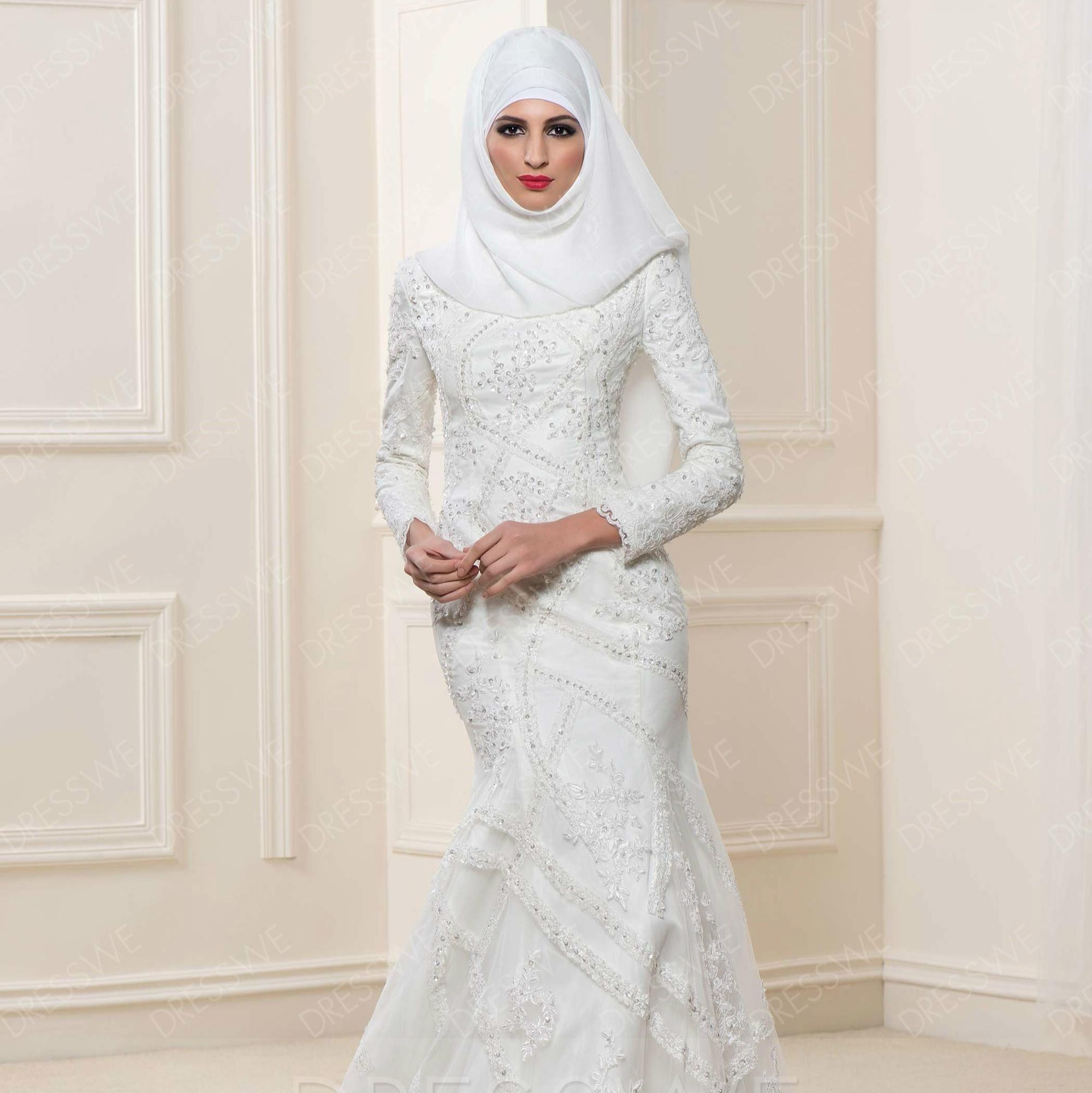 Dw006 Manches Longues Dentelle Hijab Arabe Musulman Robes De Mariée élégantes Robes De Mariée Islamiques Buy Robe De Mariée Musulmanerobe De Mariée