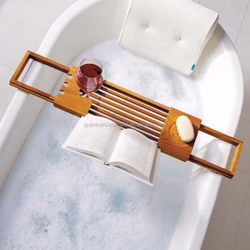 Bamboo Bathtub Caddy Bamboo Shelf Shower Tub Book Reading Tray ...