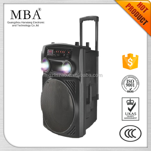 porabletrolley speaker with battery rechargeable and 15 inch sub-woofer horn