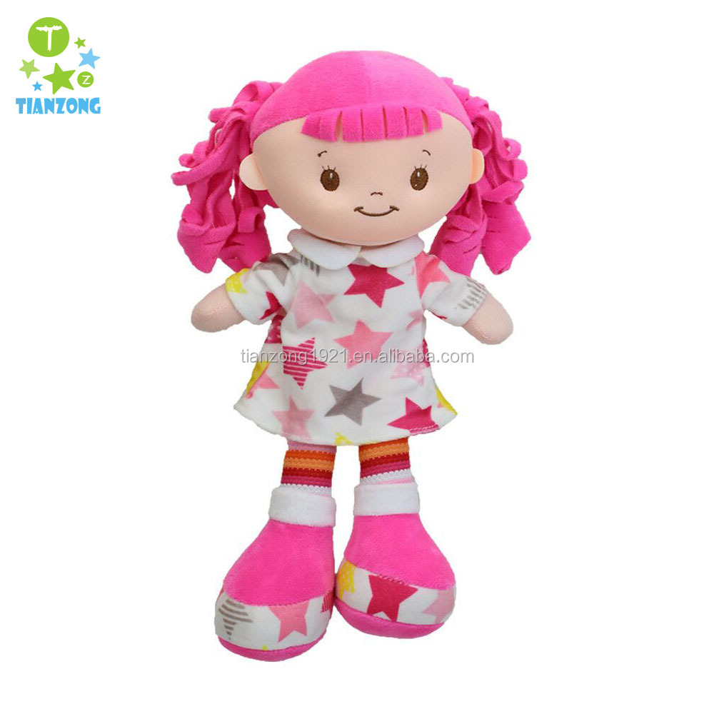 14inch fabric hair strawberry print dress plush rag <strong>doll</strong> for girl