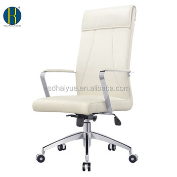High Quality White Leatherette Upholstered Office Chairs Swivel Wheels Chair Metal Armrest Hy1156 Without