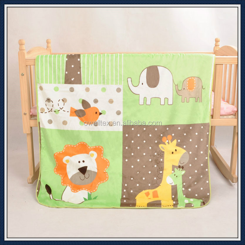 Lion and elephant printed sherpa baby blanket warm heated