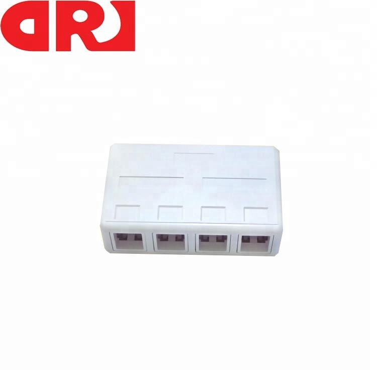 Network Connection 4 Outlet Cat5e/ Cat6 Communication Surface Mount Box With Optional Connectors