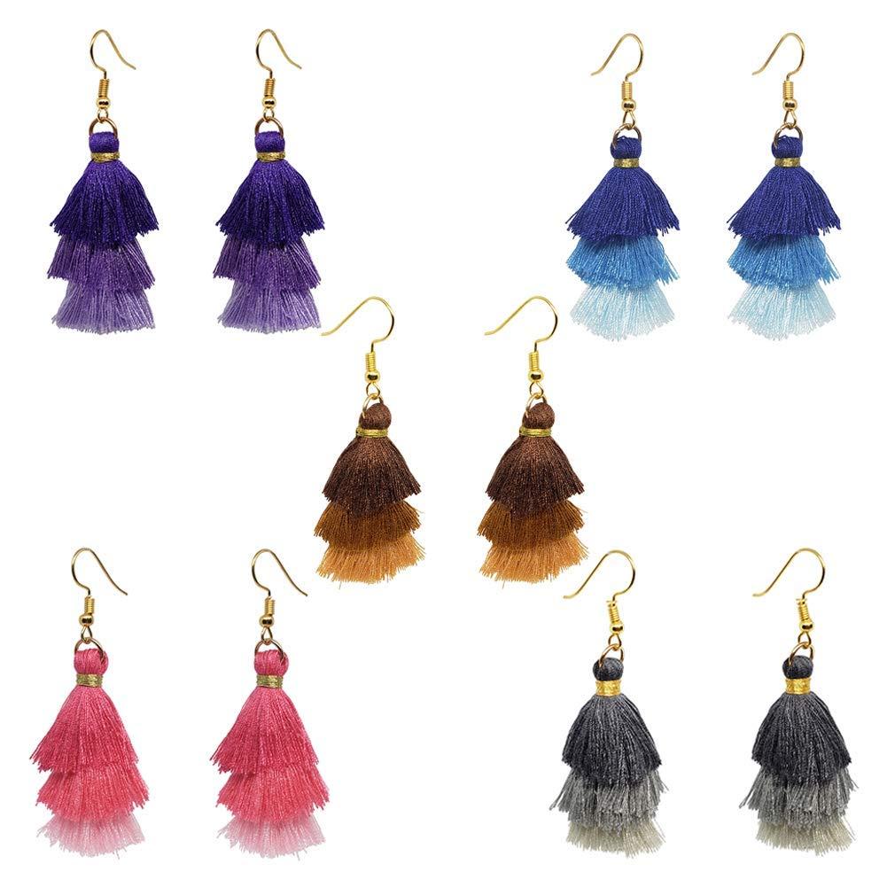FUNTEAM Tassel Dangle Earring Statement Thread Bohemian Drop Earring Gradient for Women Girls