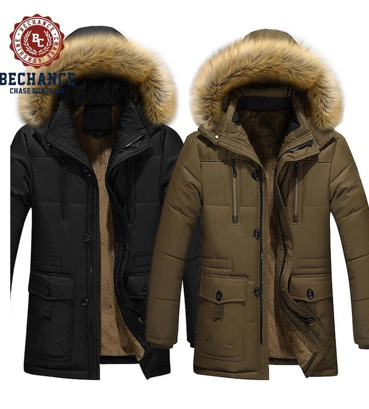 men's fashion winter down jacket with hood warm long& thick padded coat
