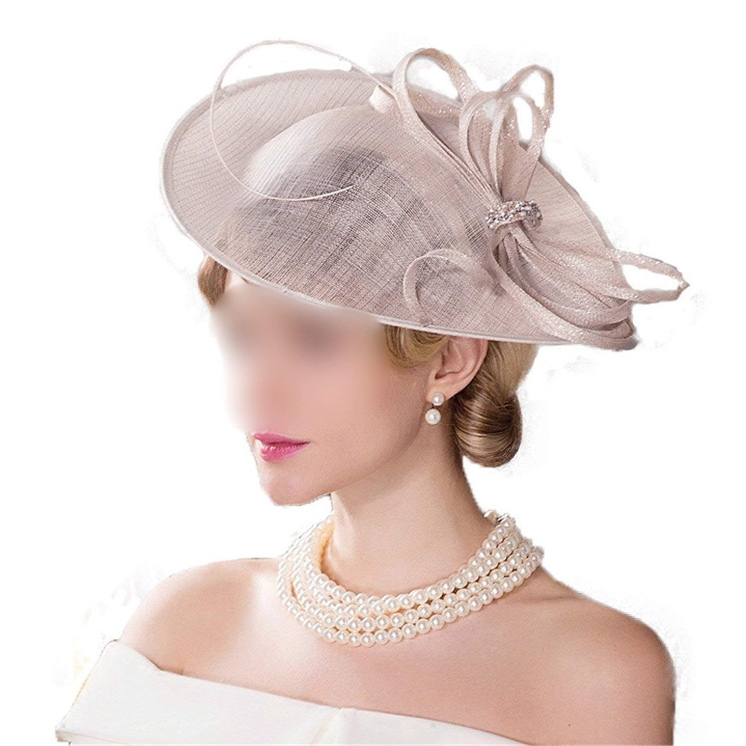 f56f73956447a Buy Fascinators for Women Beige Wedding Kentucky Derby Church Hats ...
