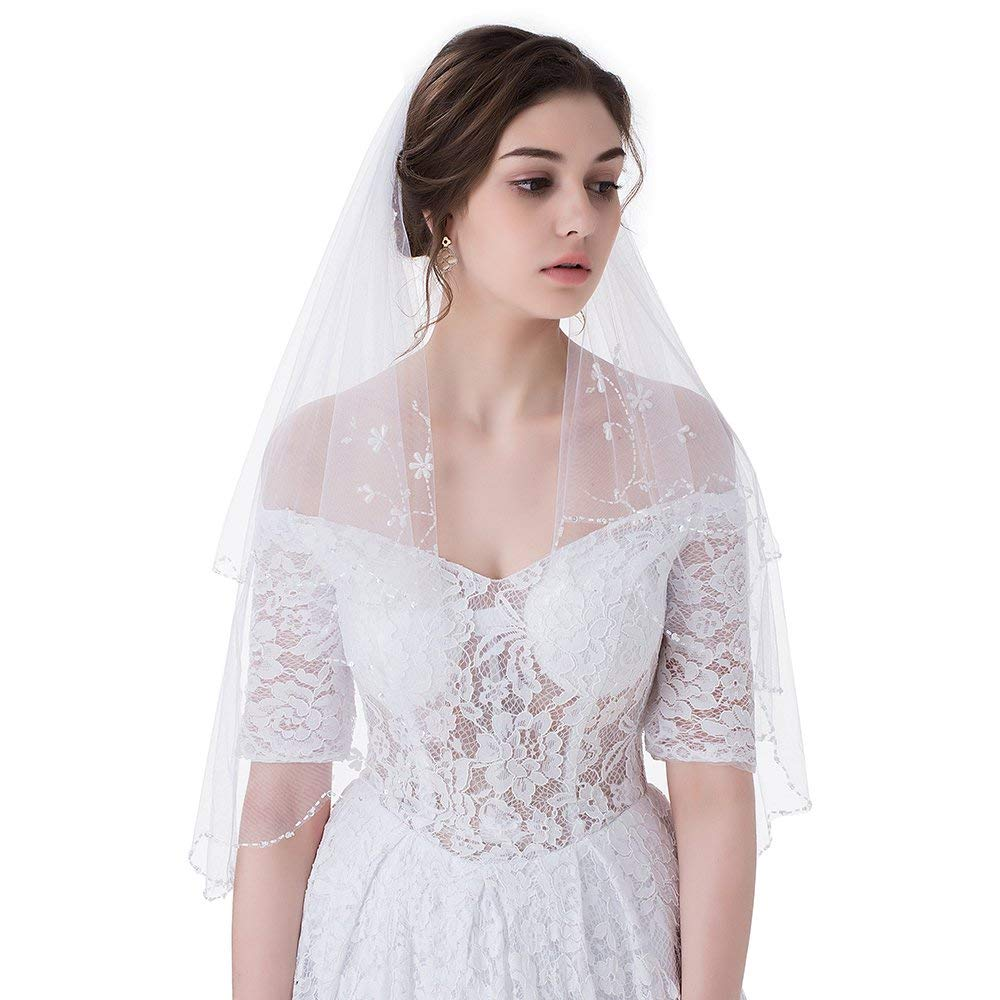 M Bridal Women's Beads Sequins Edge 2 Layers Tulle Elbow Bridal Wedding Veil With Comb