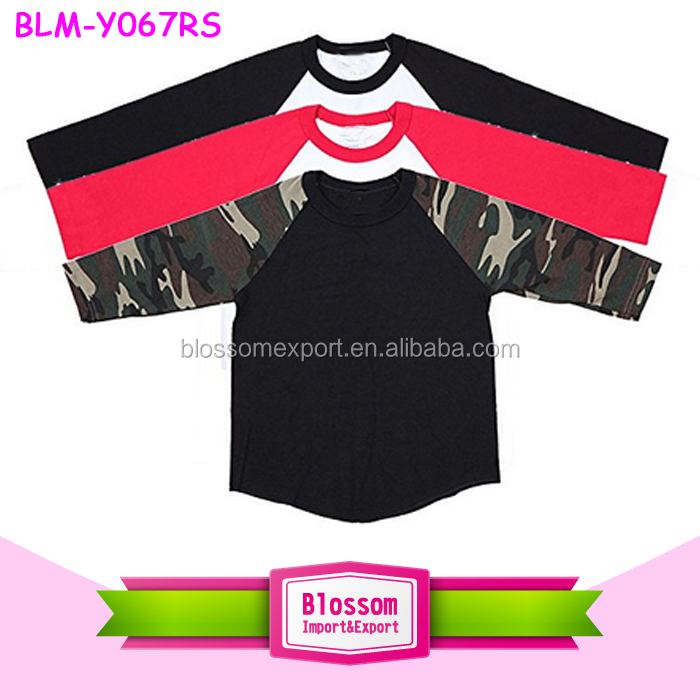 Wholesale Custom Raglan 3/4 Sleeve Baseball Tee T-Shirt Jersey Sports Blank Camo Raglan Shirts For Women And Kids